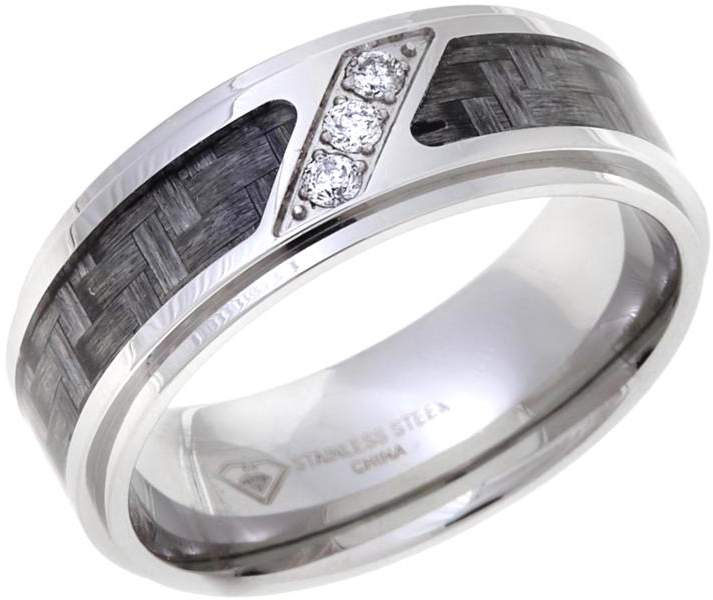 Stainless Steel and Carbon Fiber Basketweave-Design Diamond-Accented 8mm Wedding Band