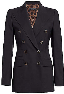 Dolce & Gabbana Women's Double-Breasted Stretch-Wool Fitted Jacket