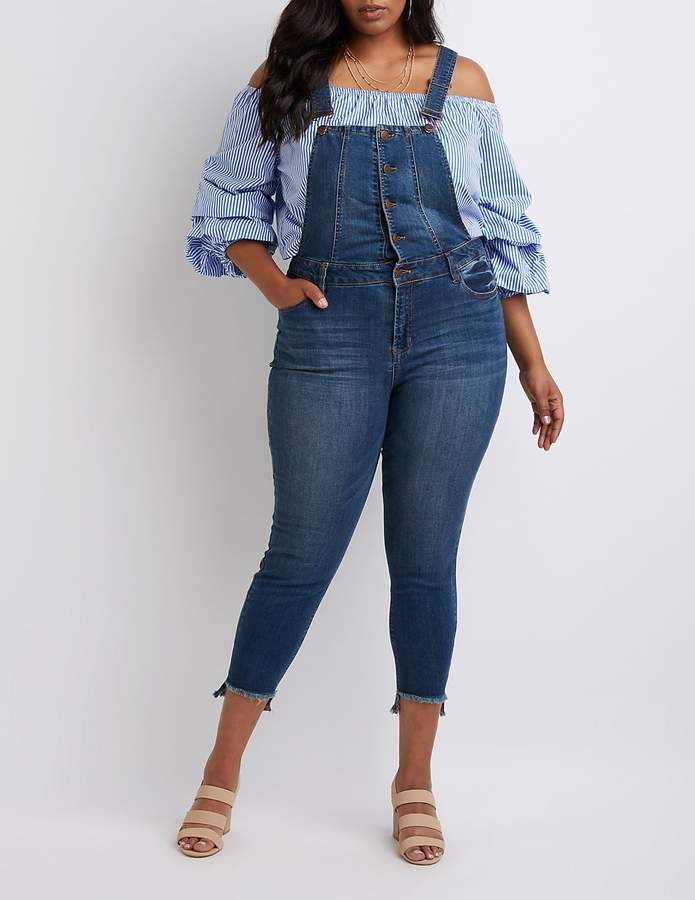 Plus Size Dollhouse Button-Up Overalls