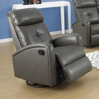 Monarch Specialties Monarch Recliner Swivel Glider / Charcoal Grey Bonded Leather