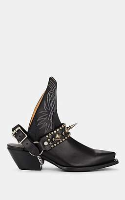 R 13 Women's Harness-Strap Leather Cowboy Ankle Boots - Black