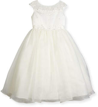 Joan Calabrese Beaded Satin & Organza Special Occasion Dress, Ivory, Size 2-6
