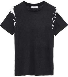 IRO Melly Lace-Up Slub Linen-Jersey T-Shirt