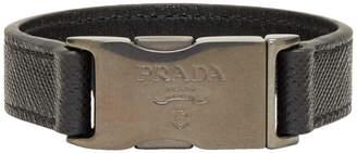Prada Black Saffiano Buckle Bracelet