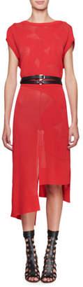 Altuzarra Short-Sleeve Floral Mesh Dress with Asymmetric Hem