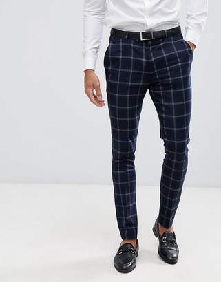 Asos DESIGN super skinny suit pants in large scale navy windowpane check
