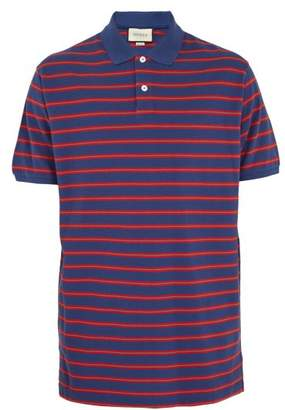 Gucci Striped Cotton Pique Polo Shirt - Mens - Blue