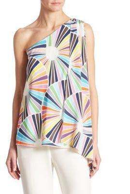 Trina Turk Ezmeralda One-Shoulder Silk Top