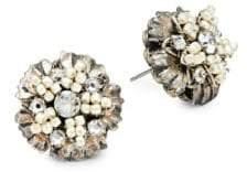 Miriam Haskell Faux Pearl & White Crystal Flower Stud Earrings