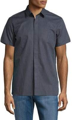 Calvin Klein Short-Sleeve French Placket Dotted Pinstripe Shirt