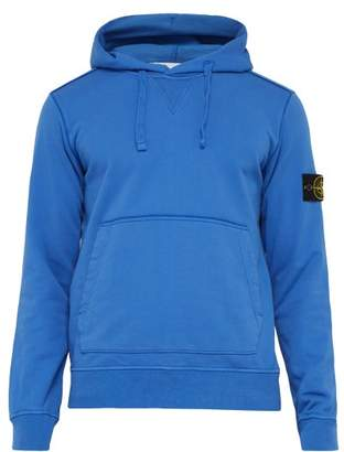 Stone Island Hooded Cotton Jersey Sweatshirt - Mens - Blue
