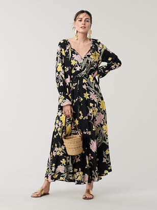 Diane von Furstenberg Imogene Cinch Waist Silk Maxi Dress