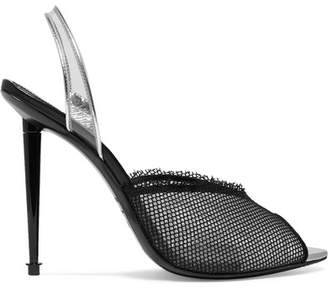 Tom Ford Metallic Leather, Pvc And Mesh Slingback Pumps - Black