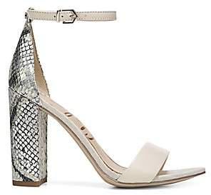 Sam Edelman Women's Yaro Ankle-Strap Snake-Embossed Leather Sandals