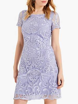Phase Eight Natalia Embroidered Dress, Dusty Blue