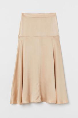 H&M Wide-cut Silk Skirt - Beige