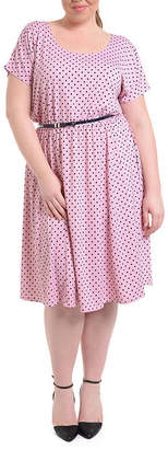 Asstd National Brand NY Collection Polka Dot Dress with Contrasting Belt - Plus