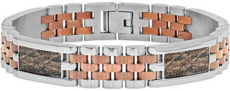 FINE JEWELRY Mens Two-Tone Stainless Steel and Brown IP Bracelet