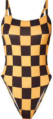 Solid & Striped Re/done The Malibu Checked Swimsuit - Yellow