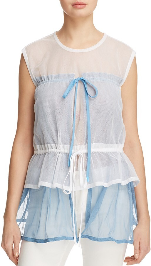 DKNY DKNY Layered-Look Sleeveless Mesh Top