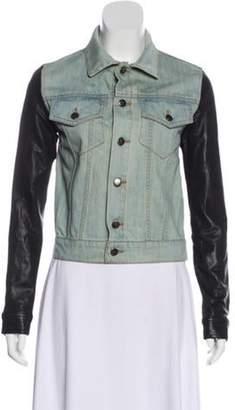 Alexander Wang Leather-Trimmed Denim Jacket blue Leather-Trimmed Denim Jacket