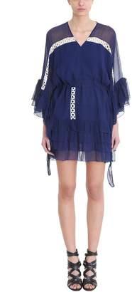Pierre Balmain Navy Cotton Frill-trim Flared Dress