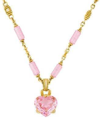 Judith Ripka 18K Pink Crystal Heart & Diamond Pendant Necklace
