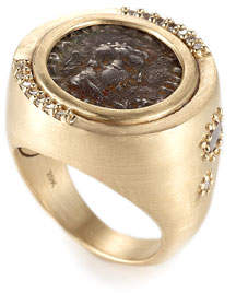 Coomi Antiquity 20k Two-Sided Coin Ring with Diamonds, Size 7