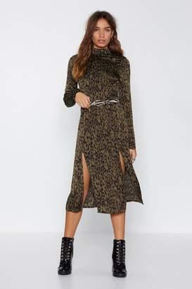 Nasty Gal Jungle Boogie Satin Leopard Dress