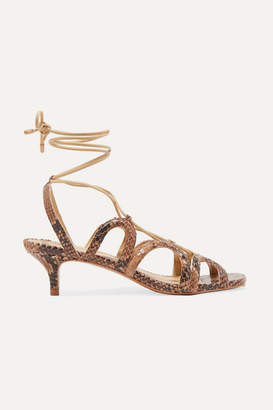 Zimmermann Cutout Snake-effect Leather Sandals - Snake print