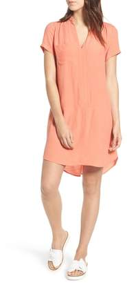 Lush Split Neck Shift Dress