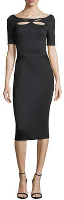 Zac Posen Bondage Jersey Short-Sleeve Cutout-Front Sheath Dress