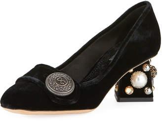 Dolce & Gabbana Jackie Embroidered Velvet Block-Heel Pumps