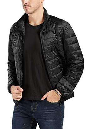 Trimthread Men's Basic Designed Stand Collar Ultra Light Packable Puffer Down Jacket (