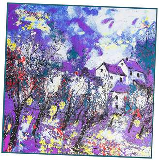 "Mulberry Anshili Women's Painting Silk Square Scarf 40""x40"""