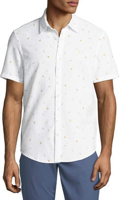 Original Penguin Men's Beer-Print Short-Sleeve Oxford Shirt