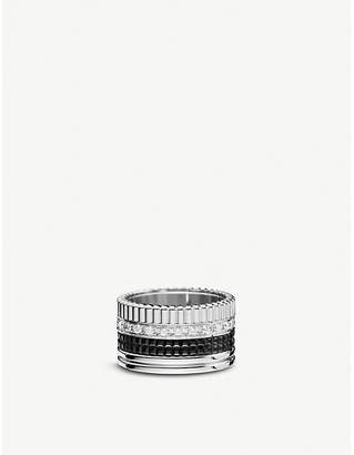 Boucheron Quatre 18ct white-gold with pavé round diamonds and PVD ring