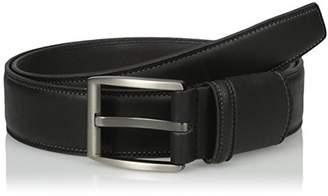 Van Heusen Men's Leather Flex Stretch Belt With Matte Gunmetal Brushed Buckle