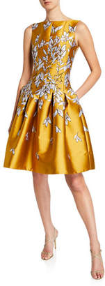 Oscar de la Renta Boat-Neckline Floral Embroidered Taffeta Dress