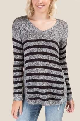 francesca's Macy Scalloped Striped Sweater - Gray