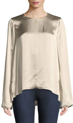 Forte Forte Fluid Satin Long-Sleeve Round-Neck Top