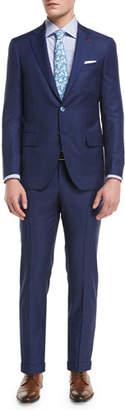 Isaia Plaid Aquaspider Super 160s Wool Two-Piece Suit, Blue