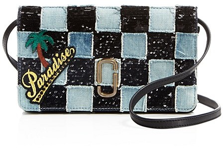 Marc Jacobs MARC JACOBS Denim Patchwork Wallet Crossbody