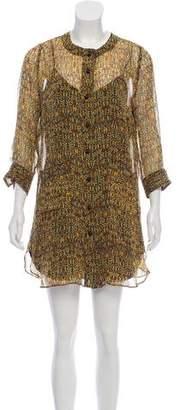 Anna Sui Silk Floral Print Dress