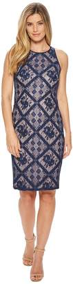 Adrianna Papell Floral Diamond Lace Cutaway Sheath Women's Dress