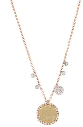 Meira T Tri-Tone 14K Gold Scratch Disc Diamond Necklace - 0.35 ctw
