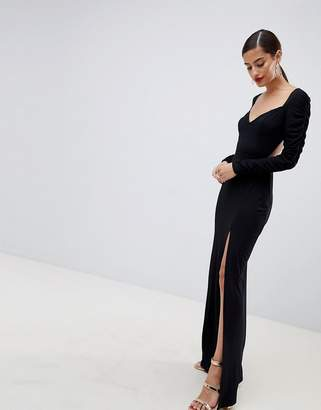 Asos Design DESIGN ruched sleeve open back sweetheart neck maxi dress