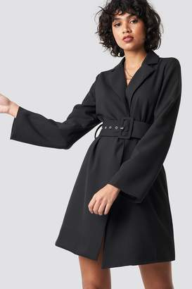 NA-KD Wide Sleeve Belted Blazer Dress Beige