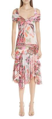 Fuzzi Paisley Tulle Midi Dress