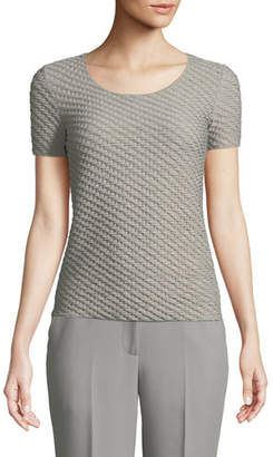 Emporio Armani Scoop-Neck Short-Sleeve Smocked Knit Shell